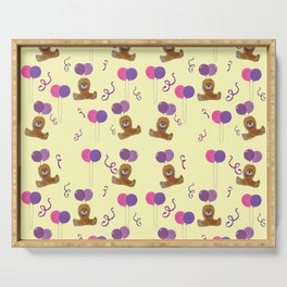 Teddy for girls with balloons Serving Tray