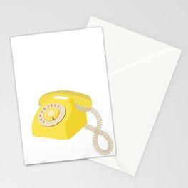 Yellow Vintage Phone // Retro Telephone Illustration Stationery Cards