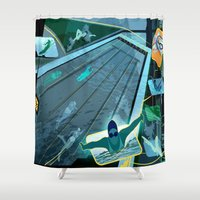 swimming Shower Curtains featuring Swimming by Robin Curtiss