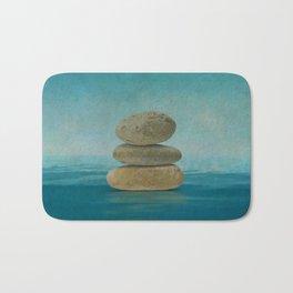 Zen Stones on water  - Mixed Media Bath Mat