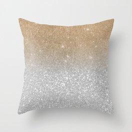 Trendy silver elegant gold gradient glitter pattern Throw Pillow