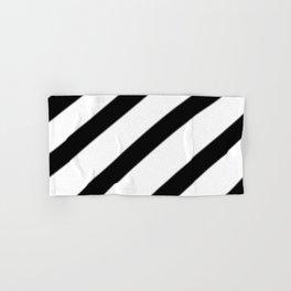 Soft Diagonal Black and White Stripes Hand & Bath Towel