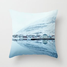 Houses by the water reflect Throw Pillow