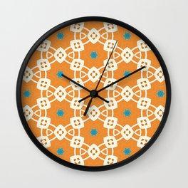 Juliette muted orange and ivory trinkets pattern Wall Clock