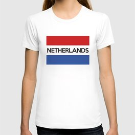 netherlands country flag name text T-shirt