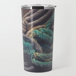 Lots of rope knots leading to moored boats Travel Mug