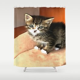 Tabby Cat Named Pipsqueak  Shower Curtain