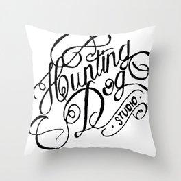 hunting dog logo  Throw Pillow