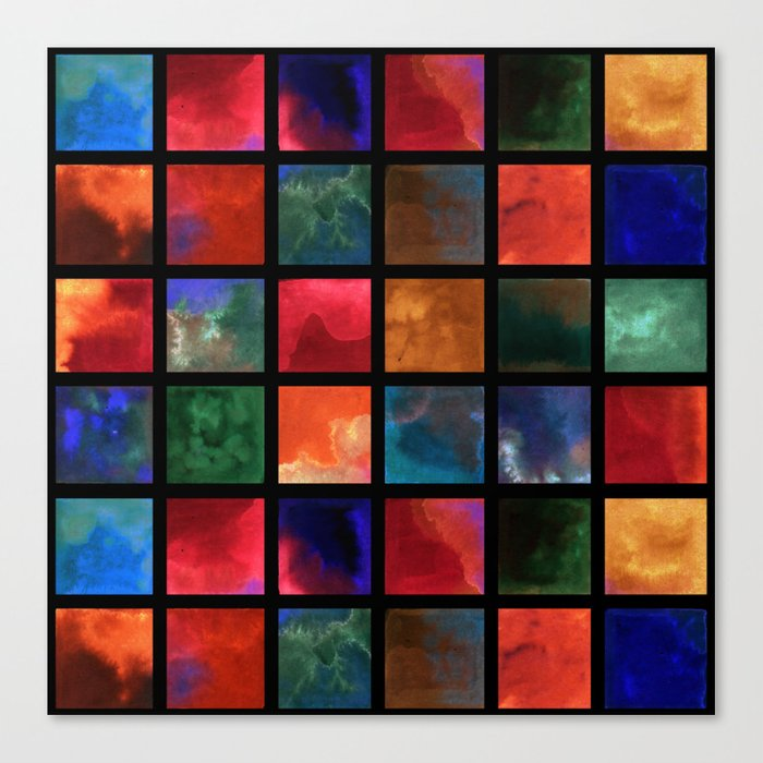 Watercolor squares geometric shapes tile pearl contrast Leinwanddruck