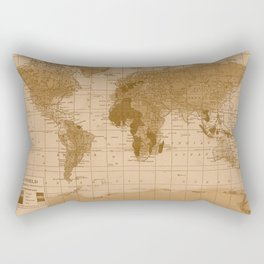 Aged World Map Rectangular Pillow