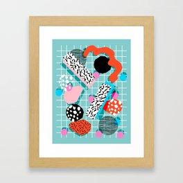 The 411 - wacka abstract memphis grid throwback retro cool neon 80s style minimal mixed media Framed Art Print