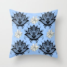 Black and White Floral Pattern Design on Blue Background Throw Pillow