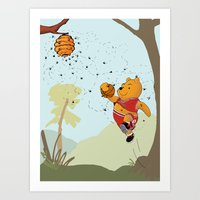 pooh Art Prints featuring Pooh Rose by Jen Hynds
