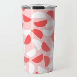 Semi Circles Red and White on Pink Travel Mug