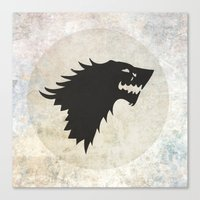 game of thrones Canvas Prints featuring Stark Flag (Game of Thrones) by Goat Robot