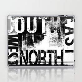 East South North West Black White Grunge Typography Laptop & iPad Skin