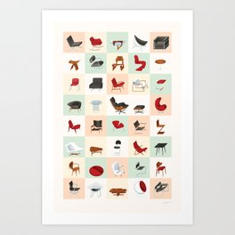 Mid-Century Modern Furniture (Warm) Art Print