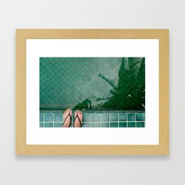 The water was perfect in the pool by this ocean / At night we swam under the full moon Framed Art Print