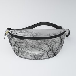 Black and white naked trees silhouette Fanny Pack
