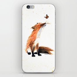 Monarch Fox - animal watercolor painting iPhone Skin