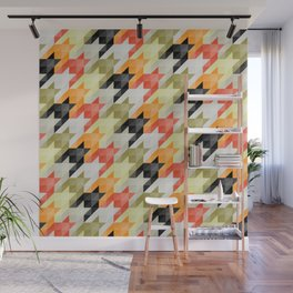 Multicolored origami houndstooth Wall Mural