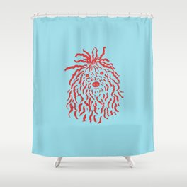 Puli (Sky Blue and Red) Shower Curtain