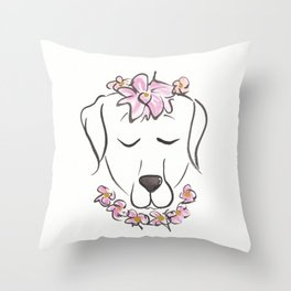 Labrador Puppy Dog with Flower Crown and Collar Throw Pillow