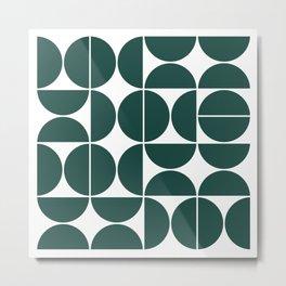 Mid Century Modern Geometric 04 Dark Green Metal Print