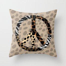 African Animal Pattern Peace Symbol Throw Pillow