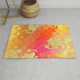 Decorative Gold Sparkling Bright Abstract Design Rug