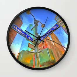 New York Street Sign Pop Art Wall Clock