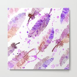 Pink Watercolor feathers and blots Metal Print