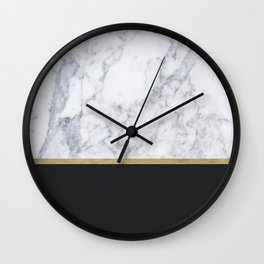 MARBLE GOLD BLACK Wall Clock