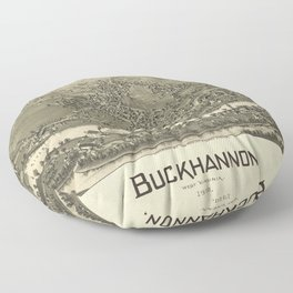 Aerial View of Buckhannon, West Virginia (1900) Floor Pillow