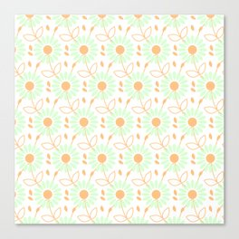 Abstract mint green coral modern floral illustration Canvas Print