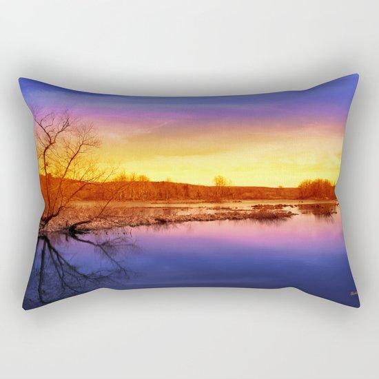 Tranquil Sunset Landscape Rectangular Pillow