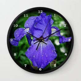 Cool blue-violet Iris 'Sea Master' Wall Clock