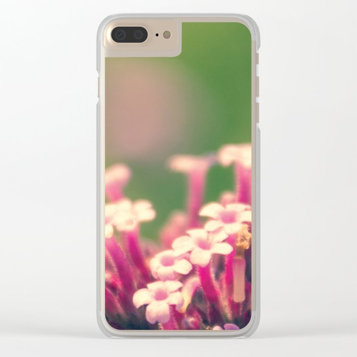 Spring Blooming Pink Flowers with Green Bokeh Background Clear iPhone Case