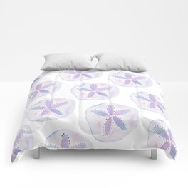 Mermaid Currency - Purple Sand Dollar Comforters