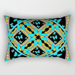 Decorative Western Style Turquoise Butterflies  Black Gold Patterns Rectangular Pillow