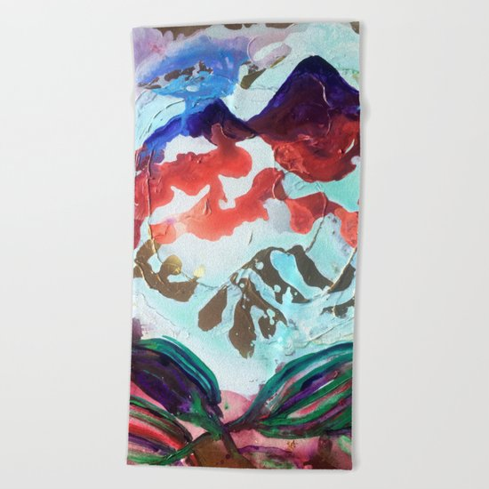 For purple mountain majesties Beach Towel