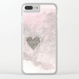 Silver Heart Clear iPhone Case