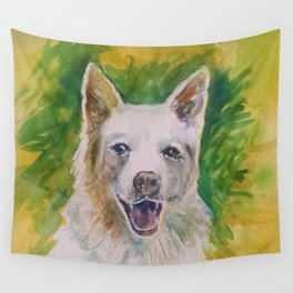Green Dog Wall Tapestry