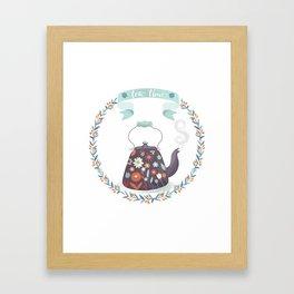 Tea Time Floral Tea Kettle Framed Art Print