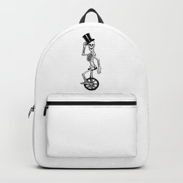 Skeleton Sir on Unicycle Articulated Paper Doll  Backpack