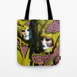 Glamorous Couple With Carnival Costumes Tote Bag