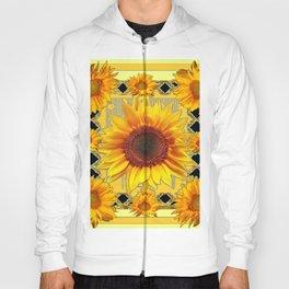 Western Black Golden Sunflowers Art Hoody