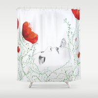 poppies Shower Curtains featuring Poppies by Christine Lindstrom