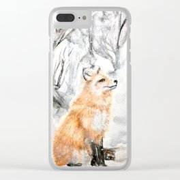 Winter fox in the snowy woods; handsome foxy Clear iPhone Case