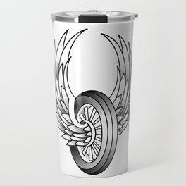Winged Motorcycle Wheel Travel Mug